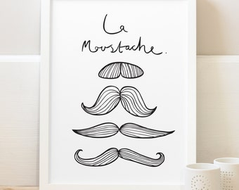 A3 French Moustache Print - French print - home decor