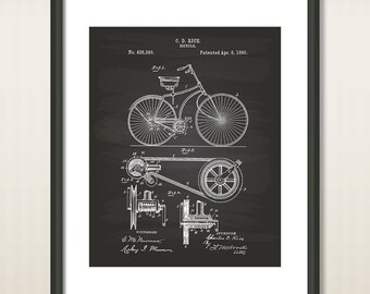 Bicycle 1890 Patent Art Illustration - Drawing - Printable INSTANT DOWNLOAD - Get 5 colors background