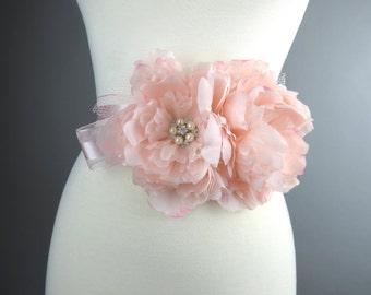 SALE Pink Bridal Peonies Sash Headband Wedding Flower Sash Wedding Accessory Brooches