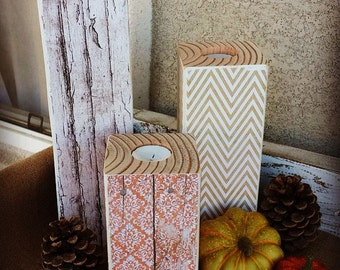 Fall/Winter Wooden Candle Holders