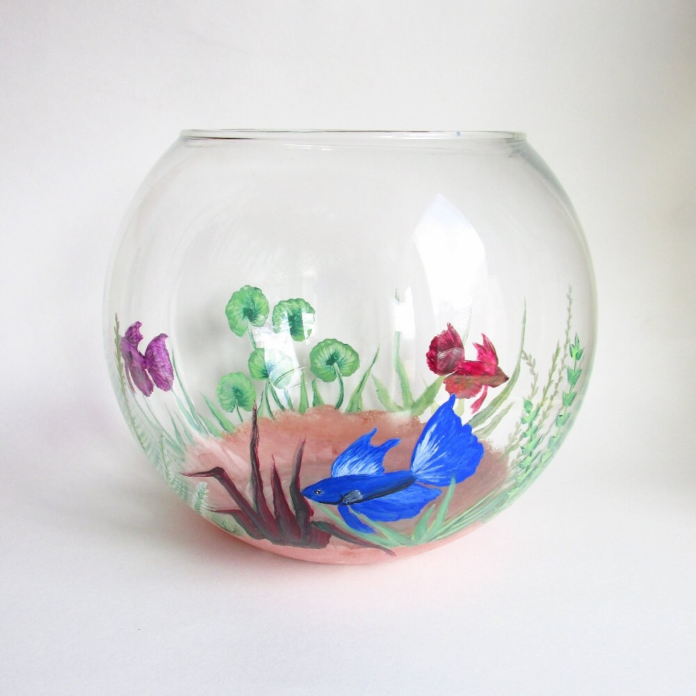 Beta fish bowl hand painted fish tank decorative glass for Fish tank paint