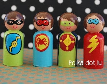 Hand Painted, Wooden Peg Doll, Super Heroes-Set of Four