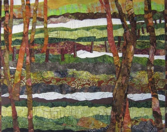 A Walk In The Woods -  Art Quilt - Textile - Wall Hanging - Art - Quilt - Applique - Handmade - Woods - Trees