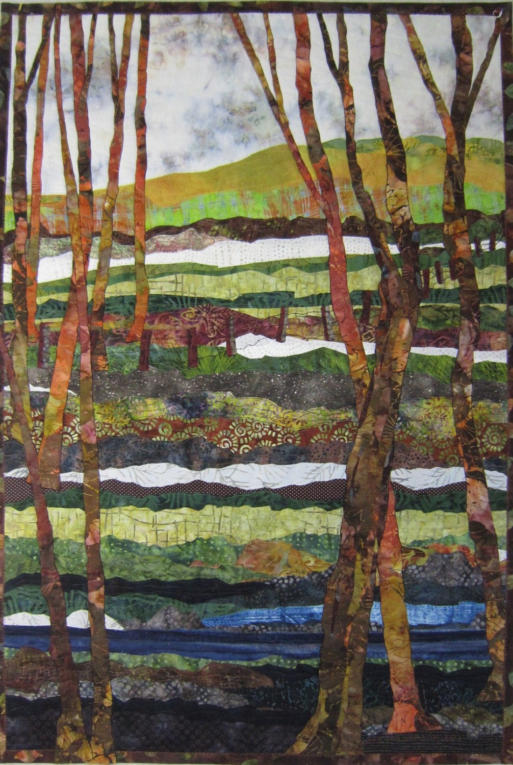 A Walk In The Woods Art Quilt Textile Wall By Bslartquilts