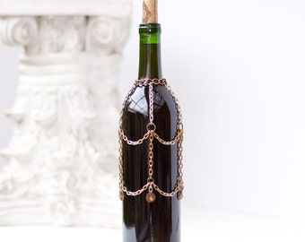wine bottle, antique brass and antique silver chain bottle cover, tiny copper discs & crystals , bottle bling, perfect for bar