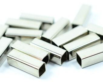 48 Pcs Silver Tone Geometric Square Tube 4x12 mm Findings