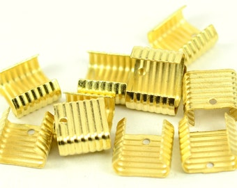 48 Pieces Gold Tone 12x14 mm Adjustable Crimp Round  Tube Curve Findings