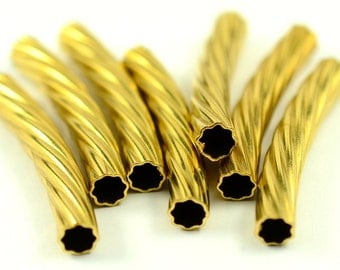 25 Pcs Raw Brass  Curved Metal Tube 5 x 32 mm Curved Tube,Findings