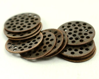 35 Pieces Antique Copper 16 mm Perforated Disc Findings