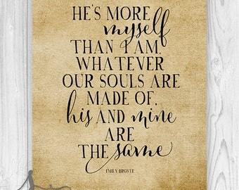 Emily Bronte Typography Love Quote Art Print