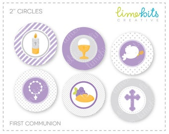 "2"" First Communion Cupcake Toppers."