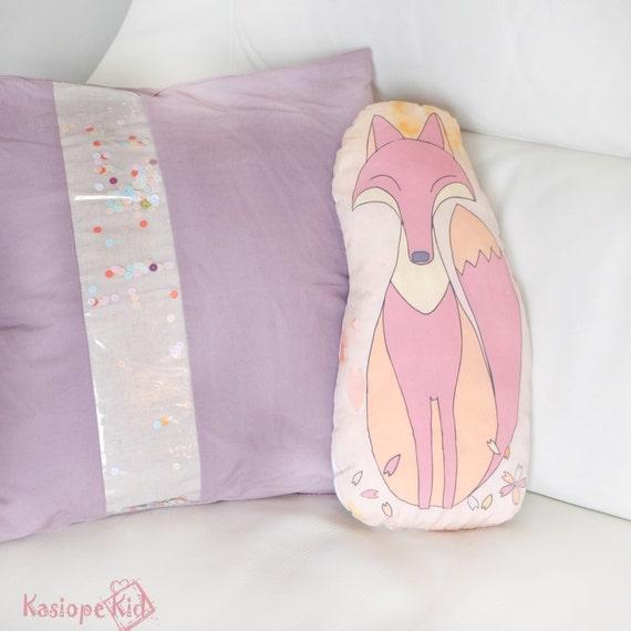 Coussin renard original pour la chambre d enfant ou adulte, tissu coton rose, orange et beige