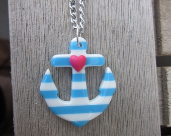 Blue and White Striped Heart Sailor Resin Anchor Necklace Pin-Up