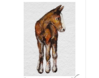 Horse art, equine print, Chestnut horse print.