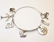 Retirement Theme Adjustable Silver Bangle, Stainless Steel Bangle, Travel, Dance, Live Laugh Love, Gift for Her, Camera, Airplane, Passport