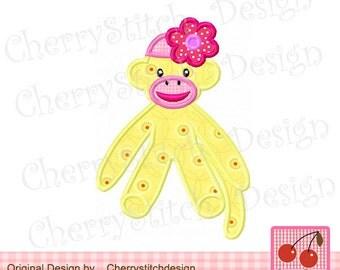 Sock Monkey Machine Embroidery Applique Design for girls -5x7 6x10 hoop
