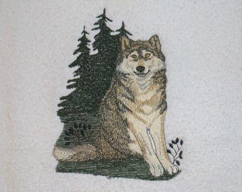 Embroidered WOLF BATH Towel - Wolf Home Decor Bath Towel, For Your Outdoorsman, Hunter, Rancher or Just Because You Love Wolves