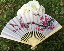 "Silk Fans for Wedding Pictures, Cherry Blossom Hand Fans, Outdoor Wedding, Wedding Favor, Beach Wedding, Asian Theme, Japanese 9"" Silk Fans"