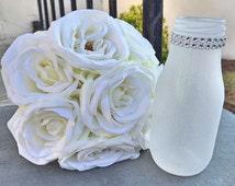 Diamond Dust Glitter Vintage Milk Glass Bottle, Rhinestone Metallic Bling, Wedding centerpiece, Wedding Favor, Baby Shower,Winter Wonderland