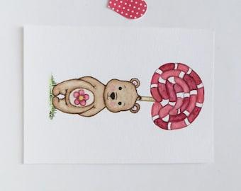 Nursery art, teddy bear painting, original painting, watercolor painting, Sweet Bear, original painting, lollipop art, kids wall decor