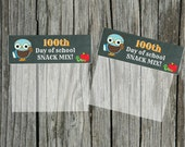 INSTANT Download 100th Day of School boy OWL Snack Mix Treat Bag Topper  - (2) U Print