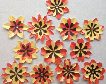 Pretty Die Cut Cardstock Layered FLowers - Orange & Yellow