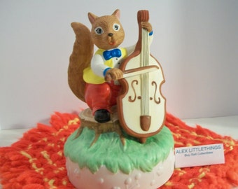 Squirrel Playing Cello Music Box Vintage