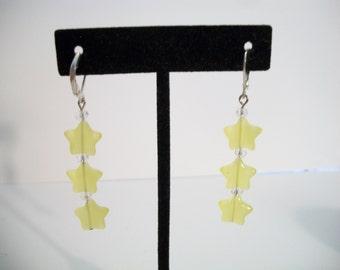 Yellow Triple Star Earrings Sunny Dangle Drop