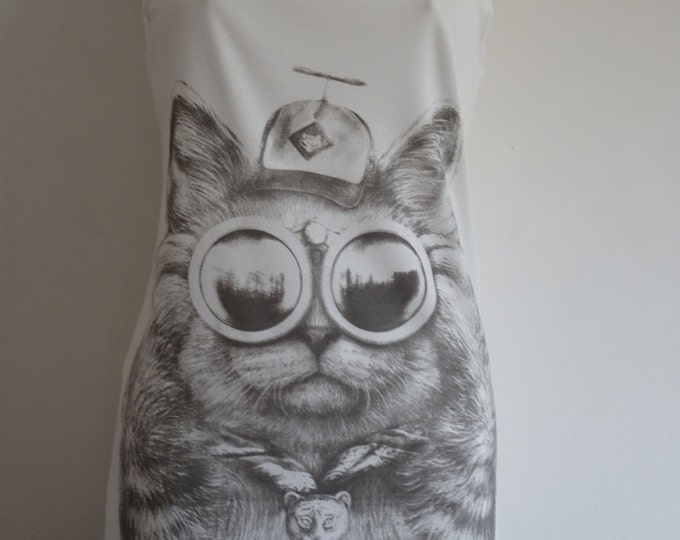 Boris The Boy Scout Cat Vest Top / Dress - Size 10-12 - White Kitten Geek Chic Kawaii T-Shirt Animal Quirky Vintage Kitsch Merit Badges