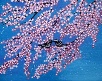 pink cherry blossom on a japanese painting by Australian artist, Catherine jacobs, pink cherryblossoms, pink cherry blossom with blue sky