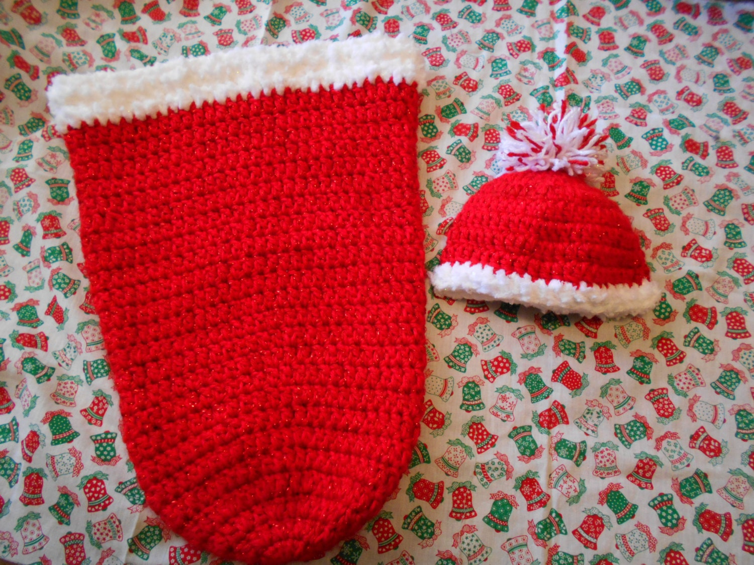 Crocheted Baby Santa Sack Bunting Cocoon and Baby by ...