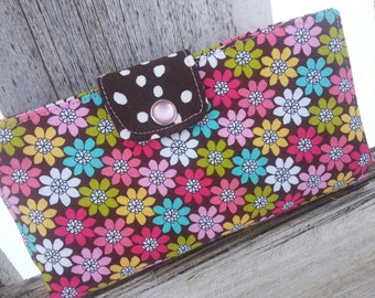 Floral Checkbook Holder, Personalized Pink & Brown Coupon Wallet