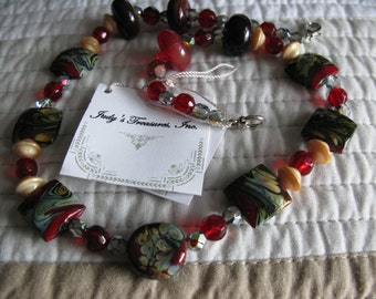 Lampwork, Raku and Austrian Crystal 19 Inch Necklace