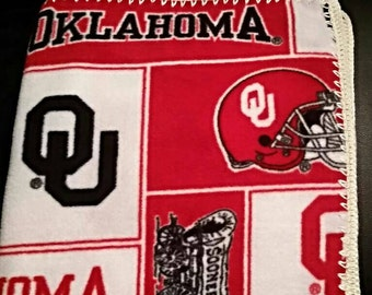 Oklahoma Sooners Crochet Edge Fleece baby Blanket (Any team/theme available)