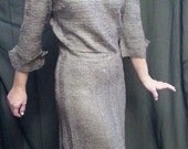 Ribbon crocheted dress, out standing taupe (brown) with 3/4 length sleeves from 1940's