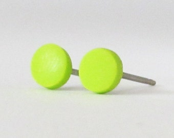 Lime green studs, matte green earrings, small round earrings, matte green studs, lime green posts