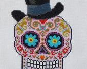 TOP HAT Sugar Skull Cross Stitch Pattern