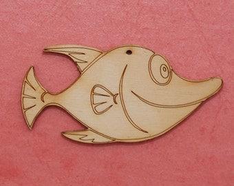 Unfinished wood shape Fish