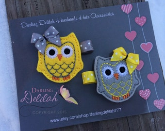 Yellow & Gray Owl Feltie Clips,  Pigtail Clips