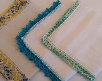 Trio of Hankies with Crochet Edges G