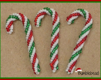 Candy Cane  Tutorial - A Beadweaving Pattern for the Christmas Tree