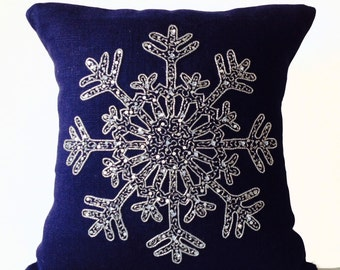 Silver Sequin Pillow Snowflake, Navy Blue Pillows Cover, Burlap Pillow Case, Throw Pillow, Decorative Pillow Holiday Decor, Christmas Gift