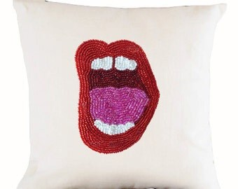 Pop Art Pillow Cover, White Linen Red Beads Pillow, Mouth Pillows, Lips Pillows, Shoutout Pillow, 16x16, Gift, Birthday Gift, Couch Cushion