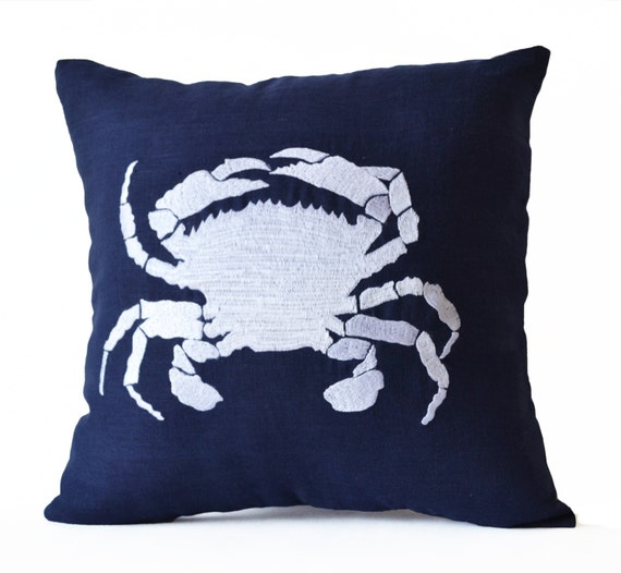 Navy Throw Pillows For Bed : Navy Blue Throw Pillow Case Beach Decor Nautical Pillows