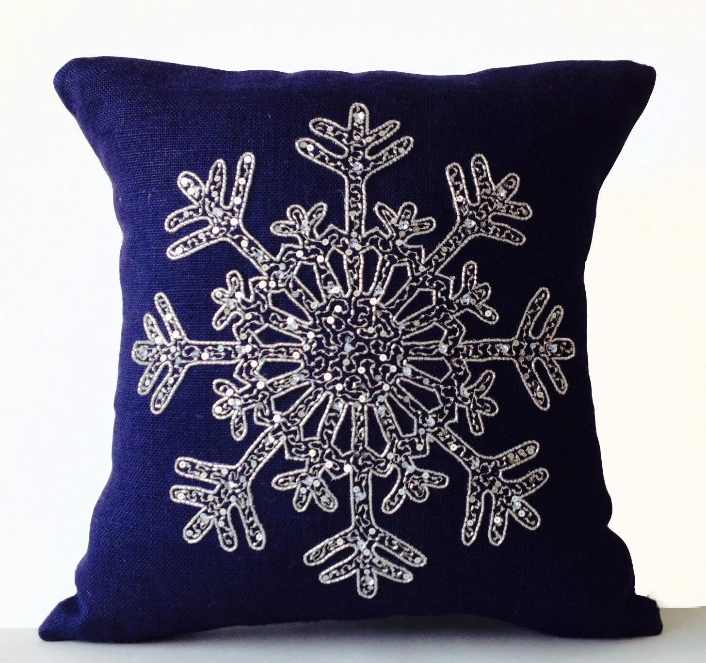 Silver Sequin Pillow Snowflake Navy Blue Pillows Cover