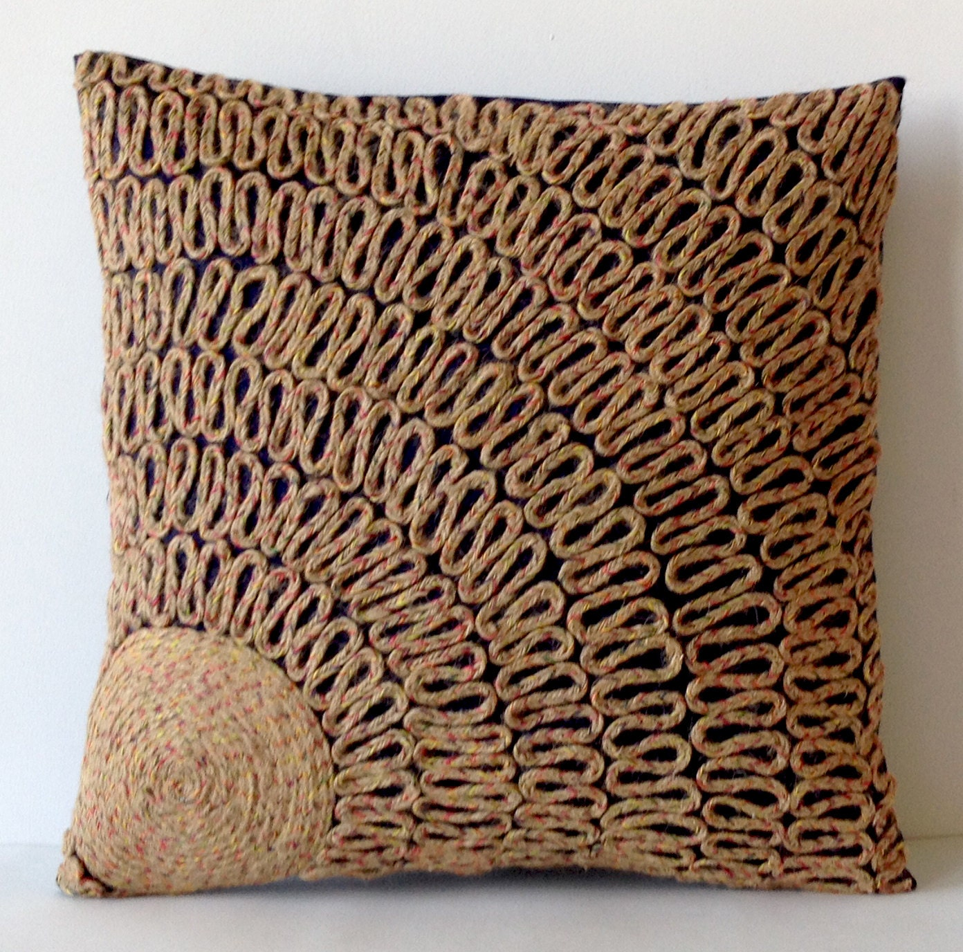 Decorative Pillows Navy : Throw Pillows Navy Blue Tan Dori Pillows Burlap