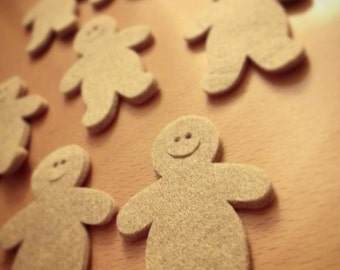 10 felt GINGERBREAD MAN die cuts, felt 3mm, decoration for Christmas