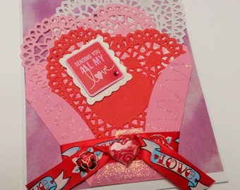 Handmade Basket of Hearts Valentine's Day Greeting Card