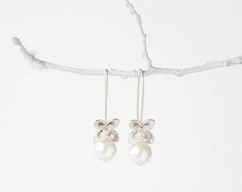 Flower Earrings Silver Narcius with Pearl