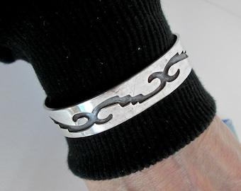 Vintage Hopi Silver Overlay Bracelet/Cuff Geometric Design, Hallmarked Cippy Crazy Horse Cochiti, Sterling 925, Southwestern USA.